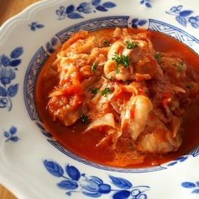 簡単♪チキンと千切りキャベツのトマト煮
