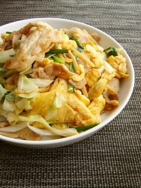 玉子と豚肉、いろいろ野菜のオイ醤油炒め。
