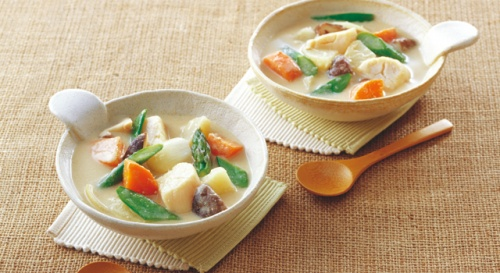 ほたてと春野菜のごまだれスープ