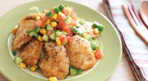 鶏のから揚げ野菜ソース