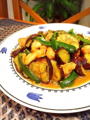 ガッツリ!茄子と鶏肉のニンニク味噌炒め レシピ・作り方
